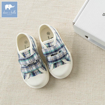 DB6308 Dave Bella spring baby boy kids canvas shoes children blue plaid brand shoes image