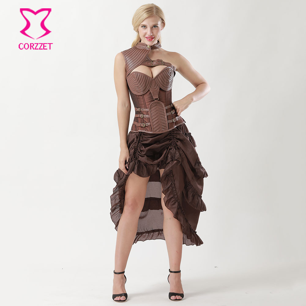 6XL Brown Leather Armor   Corsets   And   Bustiers   Vintage Steampunk   Corset   Dress Plus Size Gothic Burlesque Dresses Korsett For Women