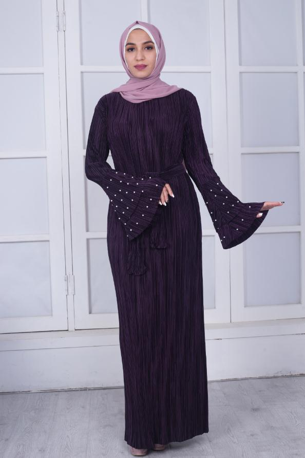 Muslim Adult fashion brand 4 colors was thin Muslim Abaya Robes female Arab Prayer Worship Service flare sleeve abaya Wj2730