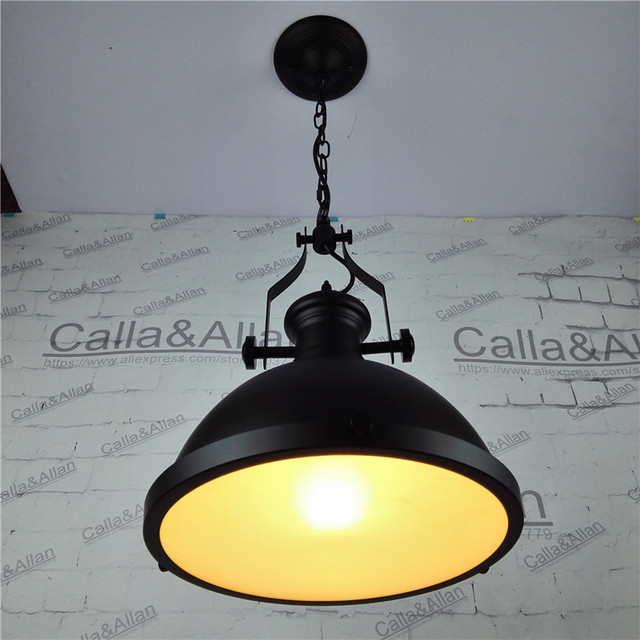 D310mmX250mm black iron glass shade with iron chain heavy pendant ...