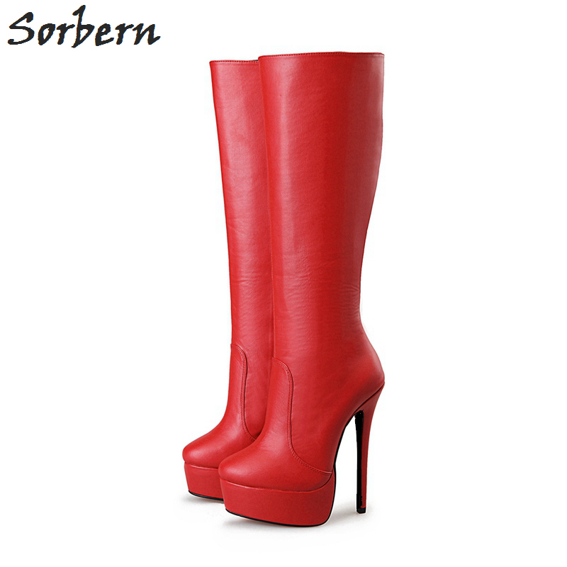 Chaud Rouge Suede Faux Femme 16 Suede Talons Genou Longues Haute Pu Chaussures Zapatos Pu Cm Black Schoenen formes Plates Dames Sorbern 2018 D'hiver Bottes black lilac Mujer red 4 6Udg6x