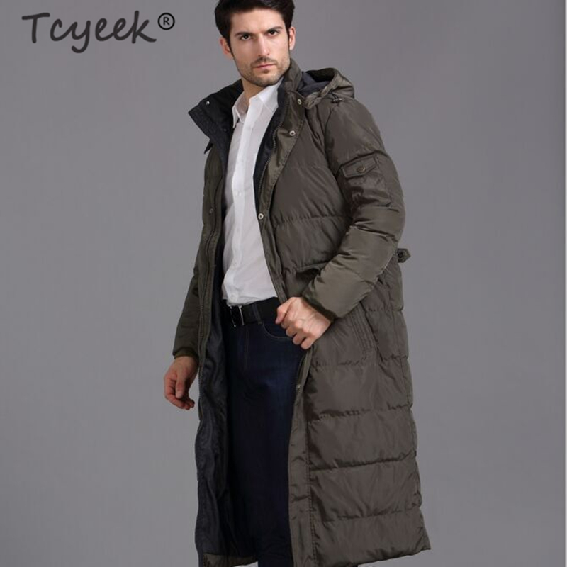 Tcyeek Winter Coat Male Fashion Abrigos 2019 Thick Warm 90% Duck Down Jacket Hooded Men Light Long Jackets Hiver Coats 2018188