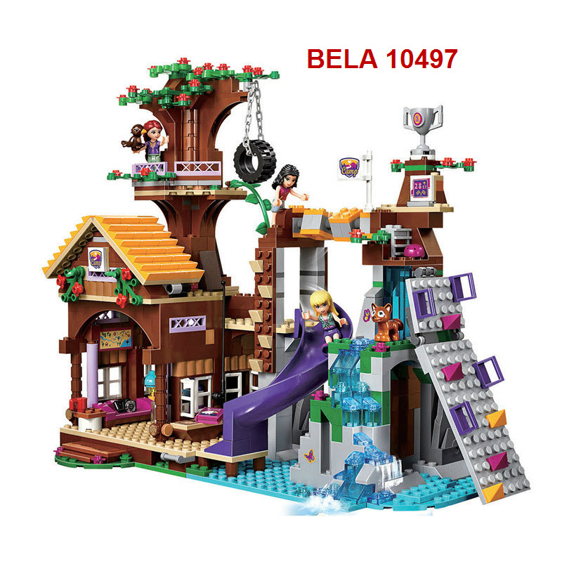 BELA 10497 Building Bricks Compatible with Lego Friends Blocks Adventure Camp Tree House 41122 Emma Mia Figure Toy For Children конструктор lego friends кондитерская стефани 41308