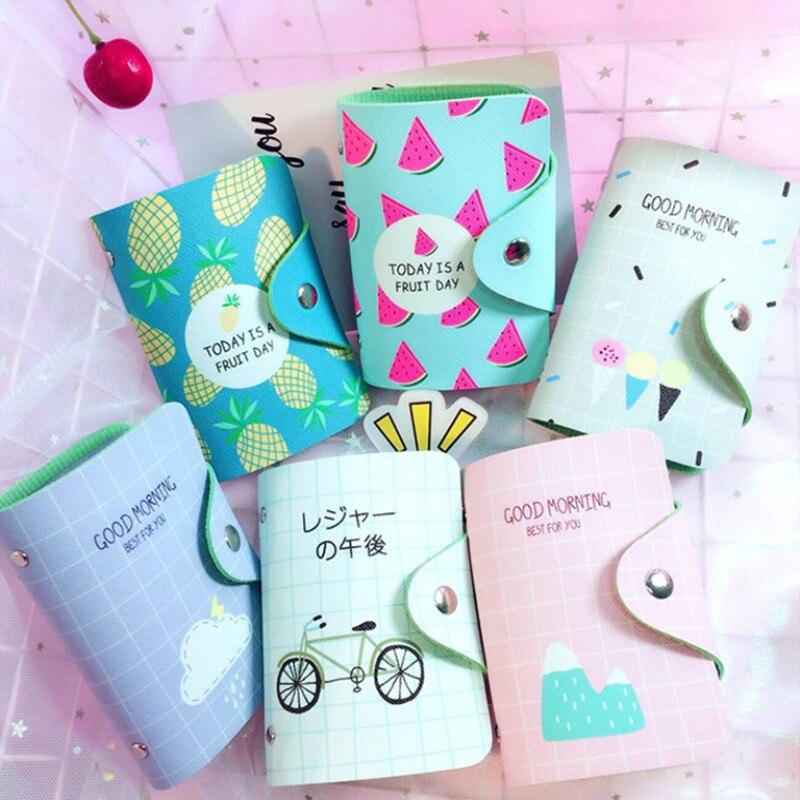 Clearance Sale Credit Card Holder Girls Leather Card Bag Portable Business Card Organizer Cartoon ID Meal Card Case