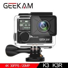 "GEEKAM K3R/K3 Action Camera Ultra HD 4K/30fps 20MP WiFi 2.0"" 170D Dual Screen Waterproof Helmet Video Recording Camera Sport Cam"