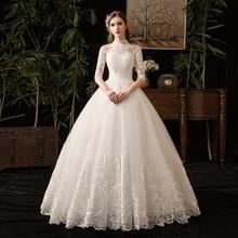 중국 스타일 높은 목 절반 슬리브 2021 새로운 웨딩 드레스 환상 레이스 Applique 간단한 사용자 정의 만든 신부 가운 가운 드 Mariee