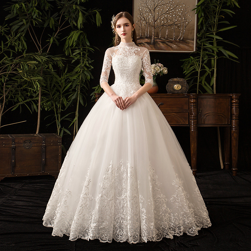 Chinese Style High Neck Half Sleeve 2019 New Wedding Dress  Illusion Lace Applique Simple Custom Made Bridal Gown Robe De  MarieeWedding Dresses