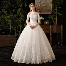 Chinese Style High Neck Half Sleeve 2019 New Wedding Dress Illusion Lace Applique Simple Custom Made Bridal Gown Robe De Mariee
