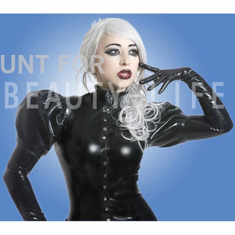 Latex belle robe pour les femmes fétiche à manches longues w/gants cosplay exotique