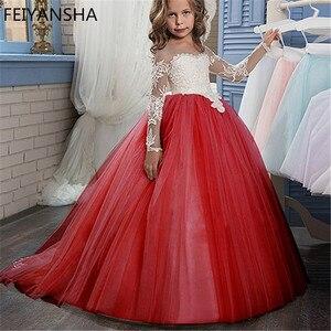 Image 2 - ลูกไม้สีแดงดอกไม้ชุดสาวแขนยาว Ball Gown เด็ก First Communion ชุดประกวดชุด Vestidos 0 14Y
