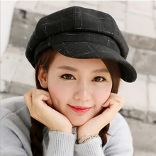 Retro Fashion Spring Winter Artist Octagonal Cap Peaked Hat Casquette Beret Wool Woolen Female Tartan Plaid Hats All Match