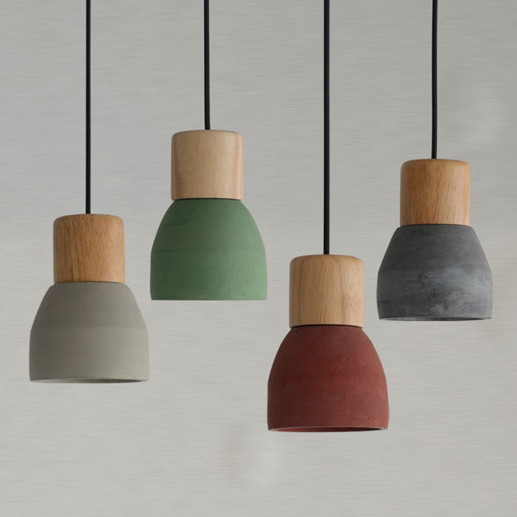 Nordic Ash Wood Cement Pendant Lamp Modern Concret Red Blue Black Gray Cement Pendant Light Drop Home Light Vintage Dining Room Lamp (15)