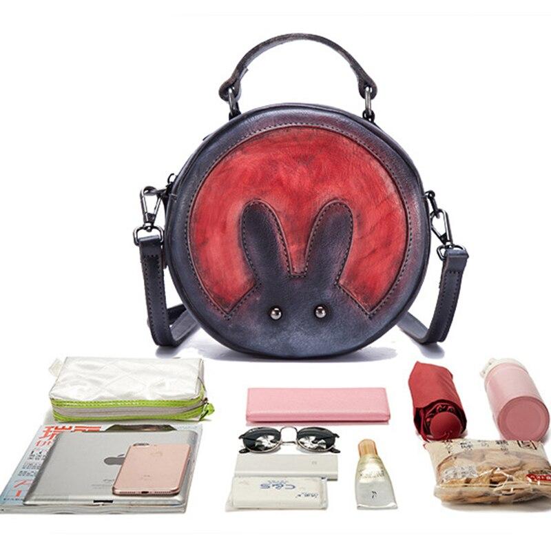 Peau naturelle épaule Messenger circulaire sacs motif de lapin petites filles mignon fourre-tout sac à main en cuir véritable femmes Top poignée sac - 6