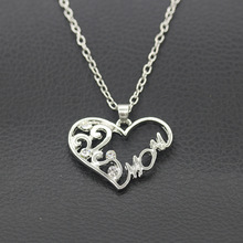"DILILI 2017 new fashion womens clothing accessories Simple women fashion silver plated heart""mon""pendant necklace XSN906"