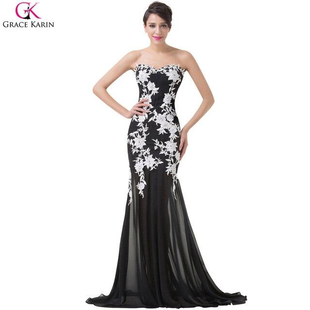 eeb159a5f Sereia sexy vestidos de noite vestes de grace karin lace strapless vestidos  formais preto e branco