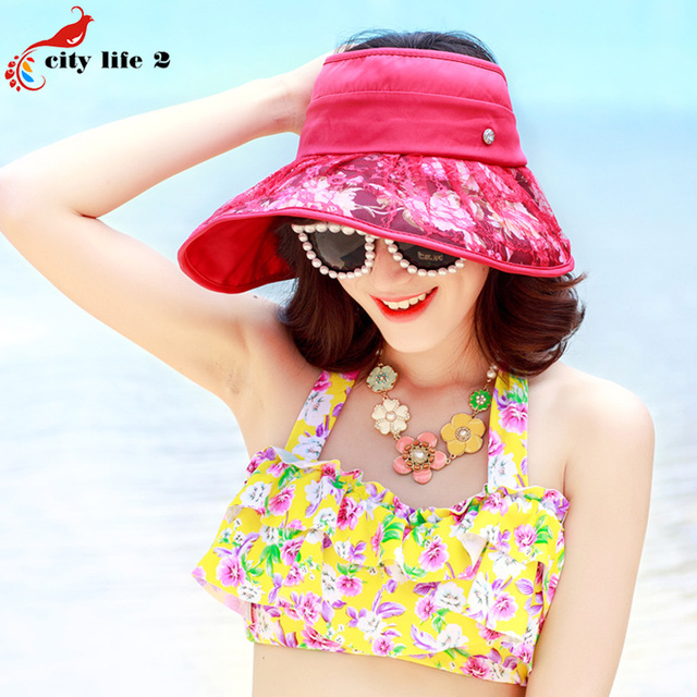 Outdoors Folding Sun Hat For Women 2016 New Cappelli Donna Estivi  Spring And Summer Sun Beach Hat Anti-Uv  Floral Print Cap