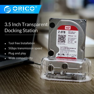 "ORICO 2.5""3.5"" Transparent Design USB3.0 to SATA3.0 HDD Docking Station Support 8 TB Hard Disk Drive Tool Free for Notebook PC"