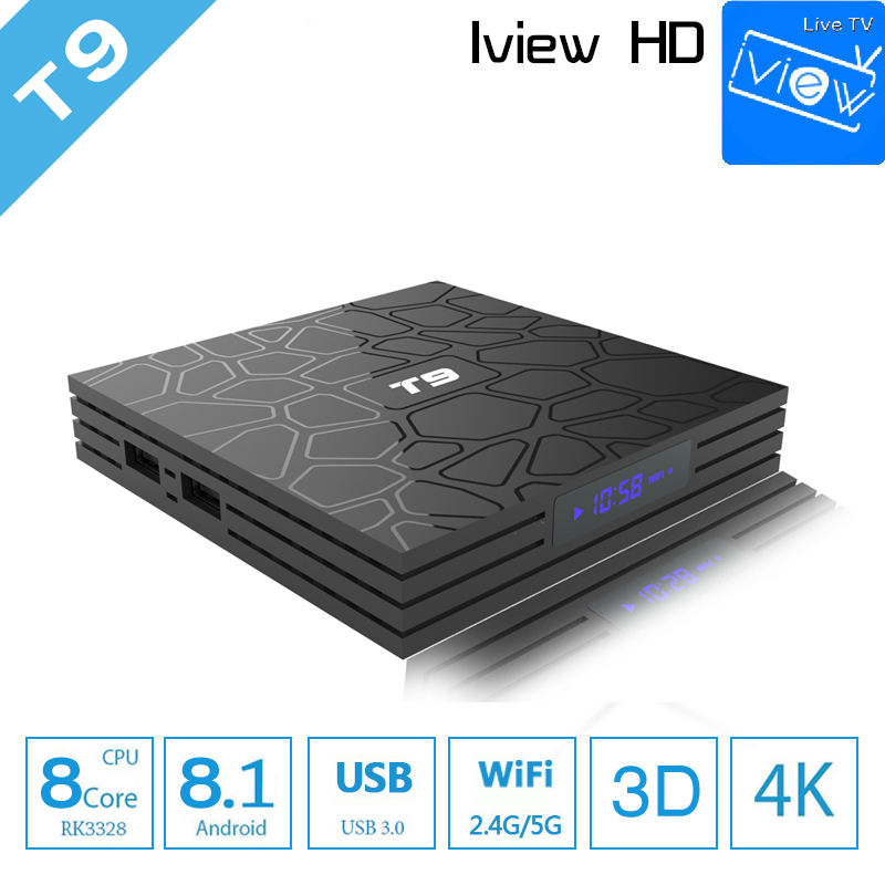 T9 Tv Box Android 8.1 Met iview HD voor Smart Media Player RK3328 Europa Griekenland UK IPTV Box Ondersteuning H.265 4 k WiFi IPTV Service-in Set-top Boxes van Consumentenelektronica op  Groep 1