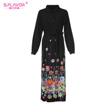 S.FLAVOR Women Autumn winter dress hot sale turn down collor long sleeve long dress Elegant Women shirt style printing vestidos(China)