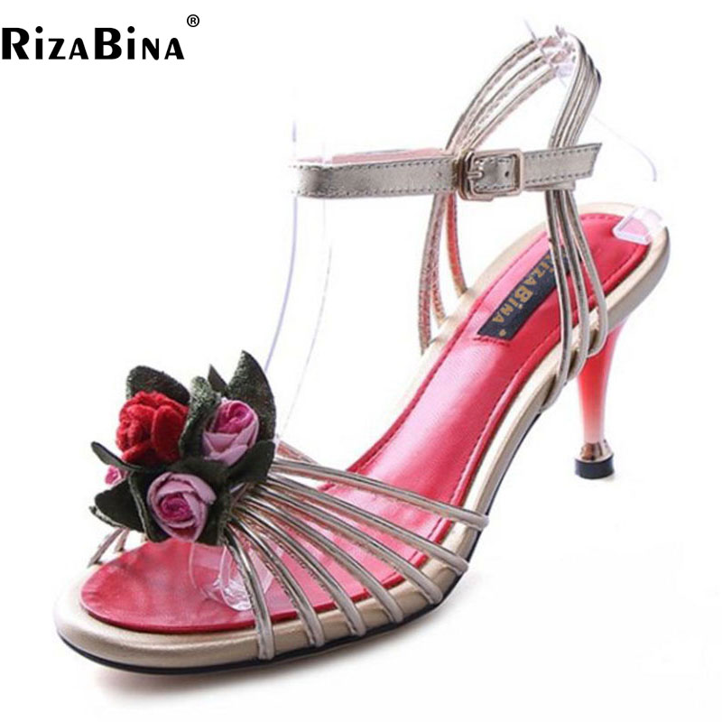 RizaBina Size 34-43 Sexy Women Real Leather High Heel Sandals Peep Toe Flower Summer Shoes Ankle Strap Party Club Women Footwear coolcept sexy ladies real leather high heel sandals women platform slipper peep toe shoes sexy party party footwear size 34 39