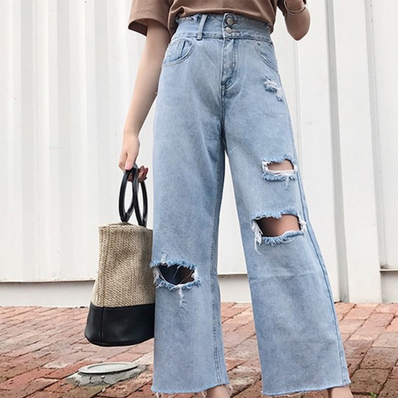 Boyfriend Style Hole Ripped Jeans For Women Loose Vintage Denim Trousers Female Jeans With High Waist Casual   Wide     Leg     Pants
