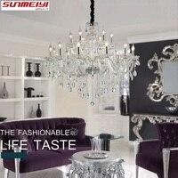 Новая роскошная K9 хрустальная гостичная люстра прозрачная хрустальная люстра с огней атриумный украшенный подвесной светильник потолочно