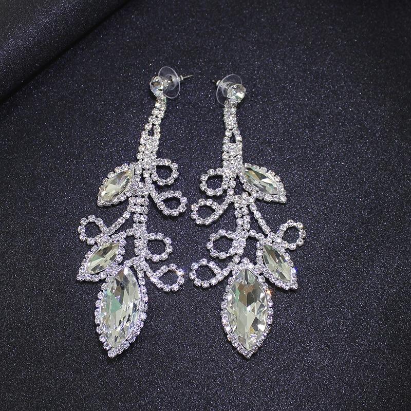 Dubbele schudden Crystal Flowe grote lange oorbellen opknoping pave - Feestversiering en feestartikelen - Foto 6