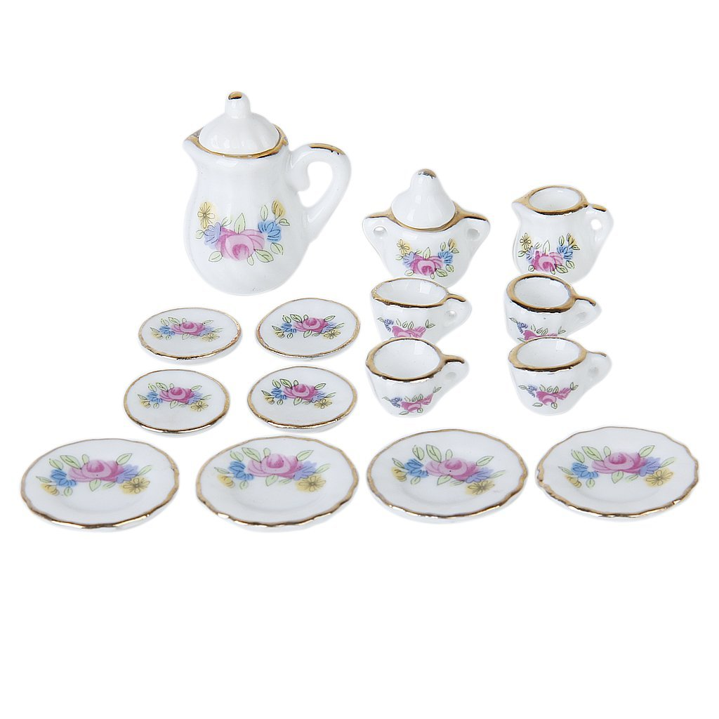 Lgfm-15 Piece Miniature Dollhouse Dinnerware Porcelain Tea Set Tableware Mug Plate With Floral Pattern Camping & Hiking Outdoor Tablewares