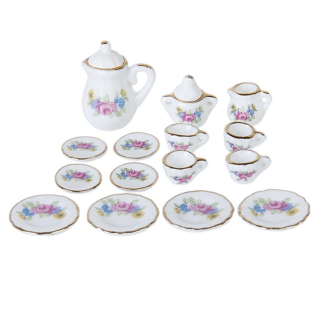 Lgfm-15 Piece Miniature Dollhouse Dinnerware Porcelain Tea Set Tableware Mug Plate With Floral Pattern Outdoor Tablewares Sports & Entertainment