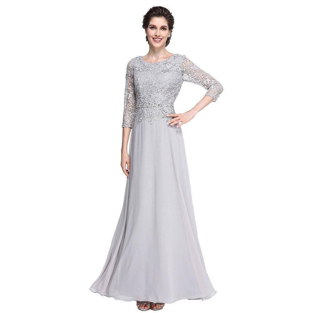8fc051c67ab 2018 vestidos de Madre de la novia con encaje de gasa de plata de tres  cuartos de manga larga madrinha Formal invitado de boda