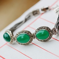 silver s925 sterling silver bracelet handmade with natural chalcedony Thai silver bracelet with restoring ancient ways