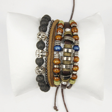 2016 New Trendy Vintage Leather Chain&Lava Bead Skull Charm Elastic Bracelet sets with for Ladis or Man,Fashion jewelry