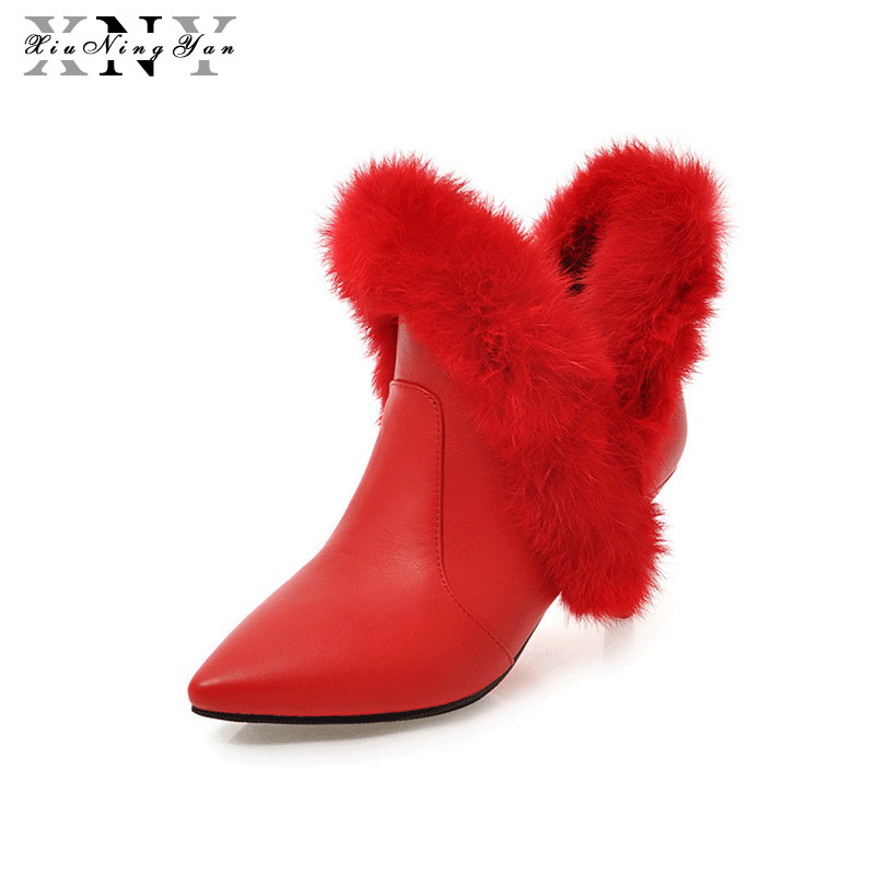 XiuNingYan Women Pu or Flock Ankle Boots Black Sexy Fashion Boots Front Zipper High Heel Shoes Woman Winter Boots Botas 34-43 women ankle boots high heels 2016 fashion shoes woman platform flock zipper winter boots ladies shoes female botas plus size 43