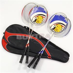 Top Quality Badminton Racket Badminton Racquet Universal Light Weight Aluminium Alloy Battledore Racquet With Carry Bag 1Pair