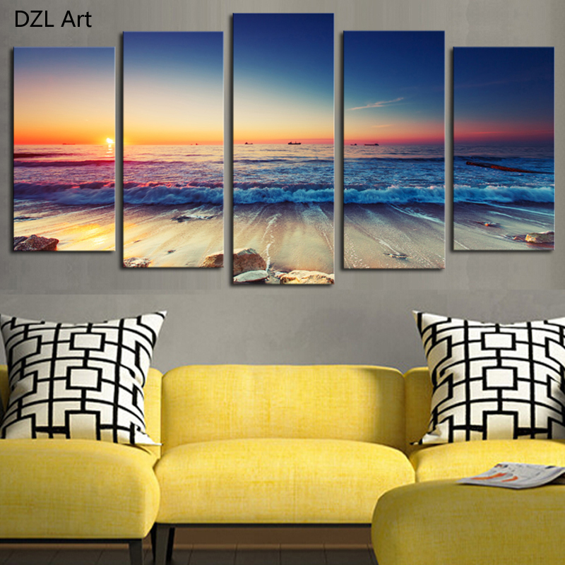 Buy 5 panels no frame the seaview modern for Modern home wall art