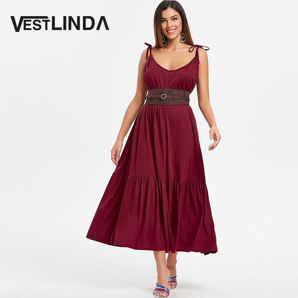 VESTLINDA Cami с завязками, прямая Талия, простое длинное платье, макси, летние пляжные платья, женские повседневные свободные платья от солнца, кр...
