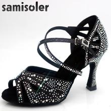 Samisoler Latin dance shoes zapatos de baile latino mujer shining  Black satin Women Salsa party Ballroom shoes цена