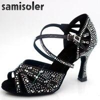 Samisolerlatin dance shoes woman zapatos de baile latino mujer shining Black satin Women Salsa party Ballroom shoes