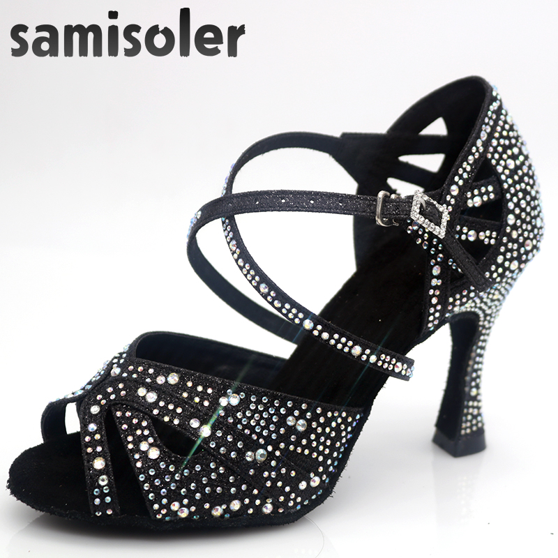 Samisolerlatin Dance Shoes Woman Zapatos De Baile Latino Mujer	 Shining  Black Satin Women Salsa Party Ballroom Shoes