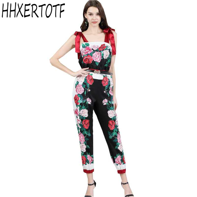 2019 New Vintage Rose Print Long Jumpsuits Women Casual Contrast Color Waist Rompers Bohemia Bottoming Siamese Pants