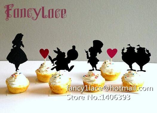 30pcs Glitter Alice In Wonderland Birthday Cupcake Toppers Bridal Shower Wedding Bachelorette Party Treat Food Picks