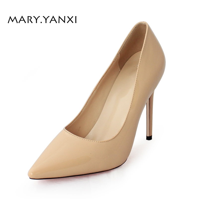 Spring/Autumn Women Pumps Women's Shoes Genuine Leather High Heel Thin Heels Pointed Toe Fashion Party Slip-On Shallow Solid moonmeek new arrive spring summer female pumps high heels pointed toe thin heel shallow party wedding flock pumps women shoes
