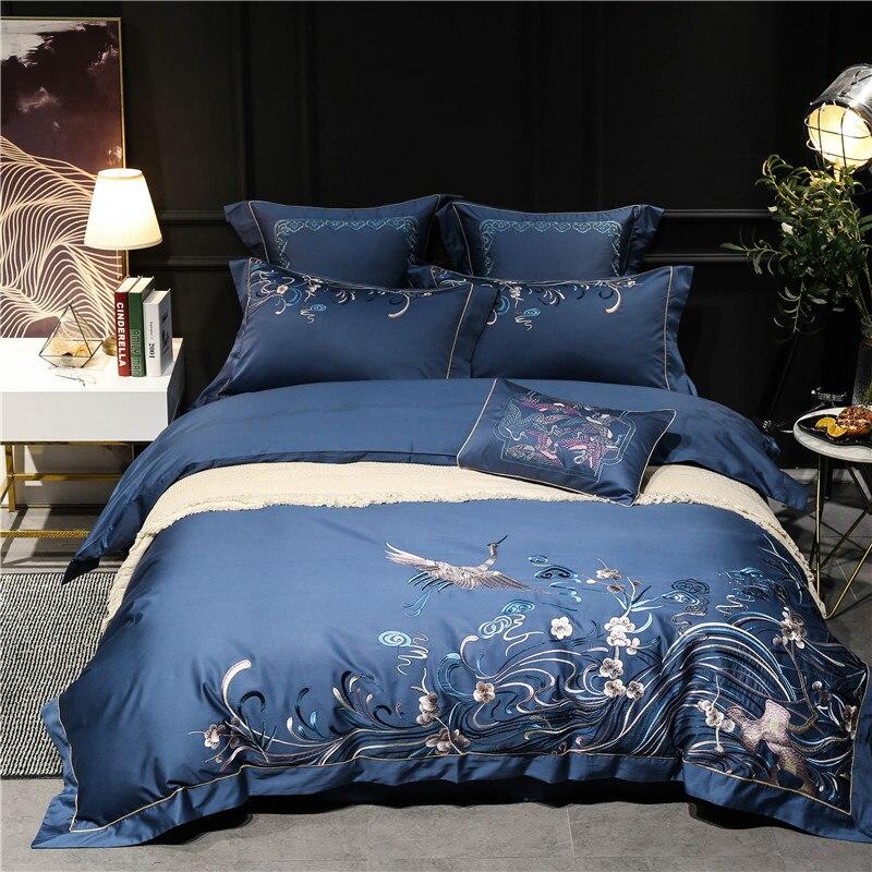 100 S egypte coton luxe 4/7 pièces ensemble de literie reine/roi taille brodé oiseaux ensemble de lit housse de couette taies doreiller en lin