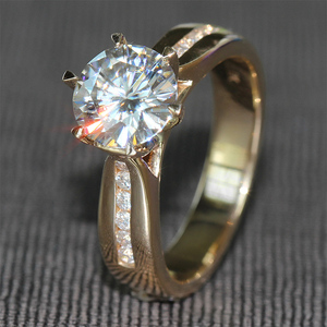 Image 2 - TransGems 2 Carat Lab Grown Moissanite Diamond Solitaire Wedding Ring  moissanite Accents Solid 14K Yellow Gold Band for Women