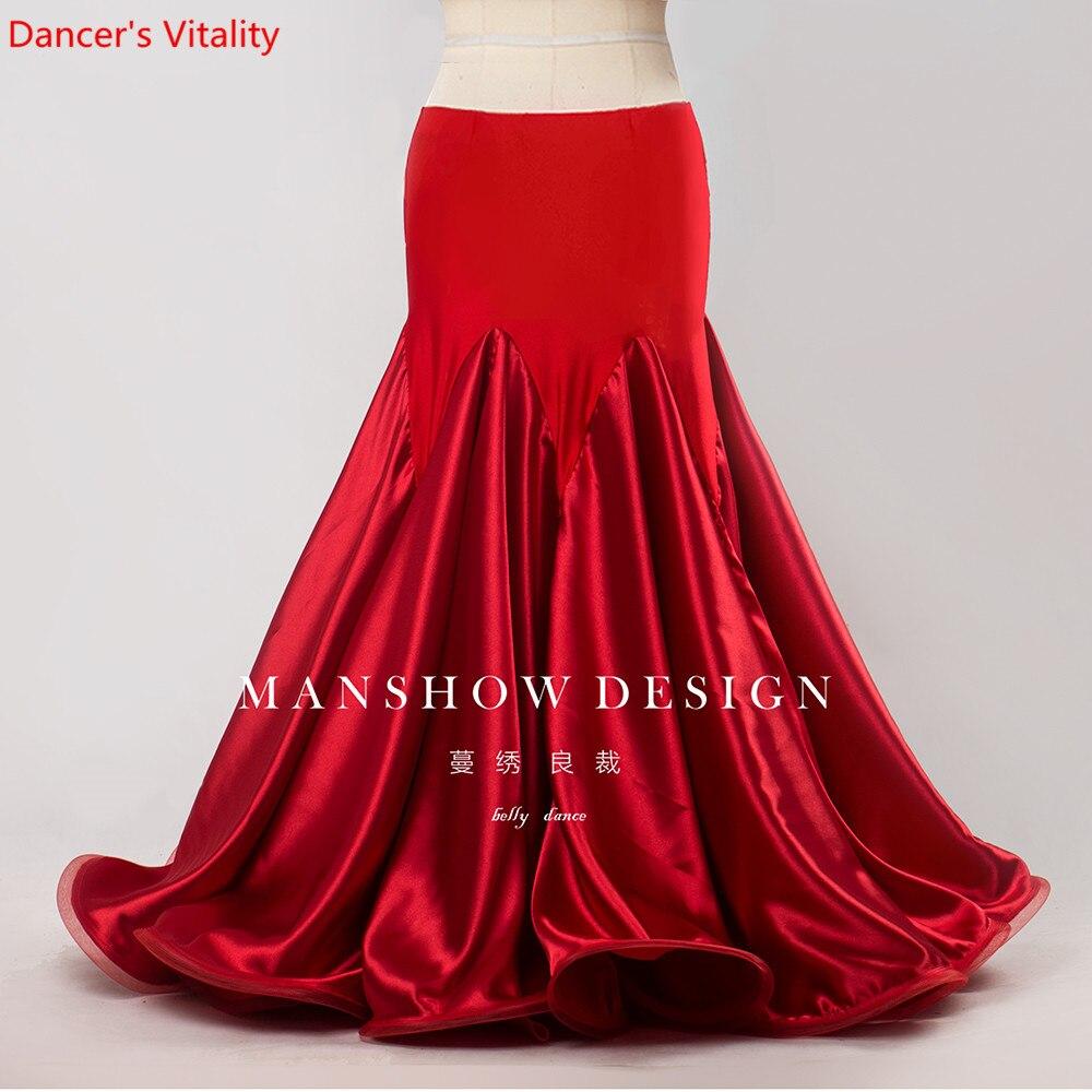 High-end Custom Belly Dance Long Skirt 2019 Autumn And Wnter New Package Hip Fishtail Skirt 1080 Degree Hem Satin Skirt