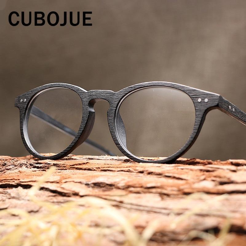 Cubojue Vintage Round Acetate Glasses Women Men Wooden Grain Customize Optical Prescription Lens Anti Blue Ray Photochromic UV