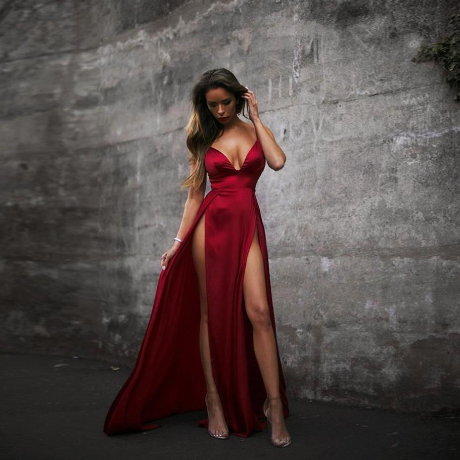 Sexy Burgundy Velet Maxi Dresses V Neck Padded 2 High Splits Cross Straps High Rise Night Club Party Dress