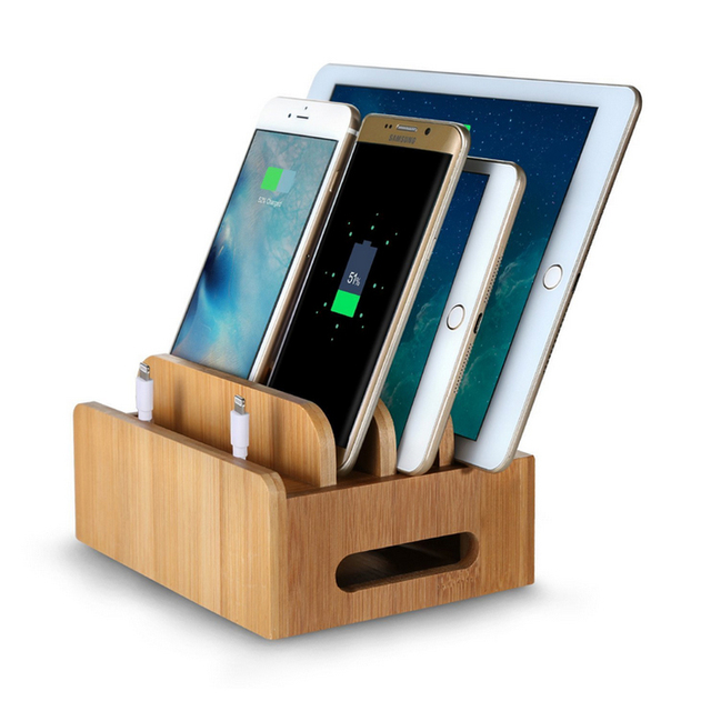 bamboo stand multi device desktop cords organizer dock charging station holder with slots for