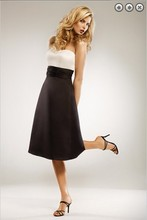 free shipping dinner dress 2013 New fashion plus size brides maid formales short white and black Bridesmaid Dresses