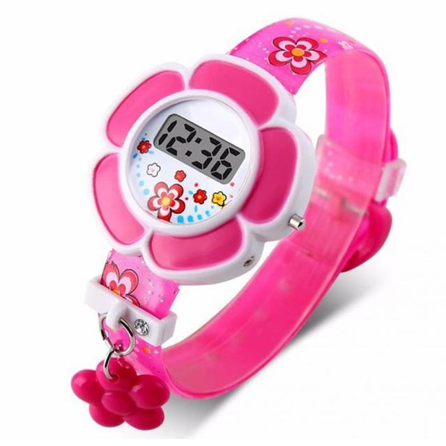 Pink Kids Watches Flower Cute Children Watches Cartoon Silicone Digital Wristwat